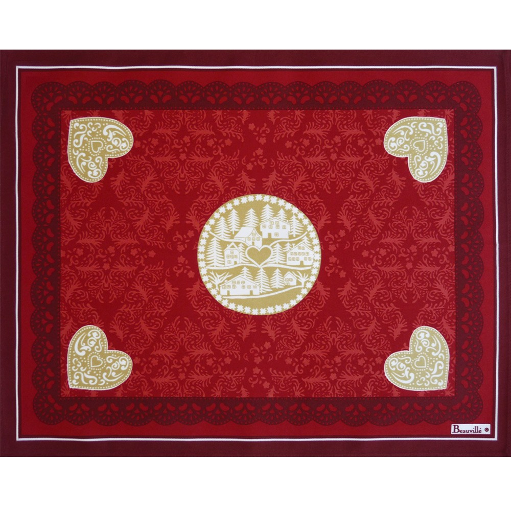 Red cotton placemat l hiver placemat beauvill - Set de table intisse ...