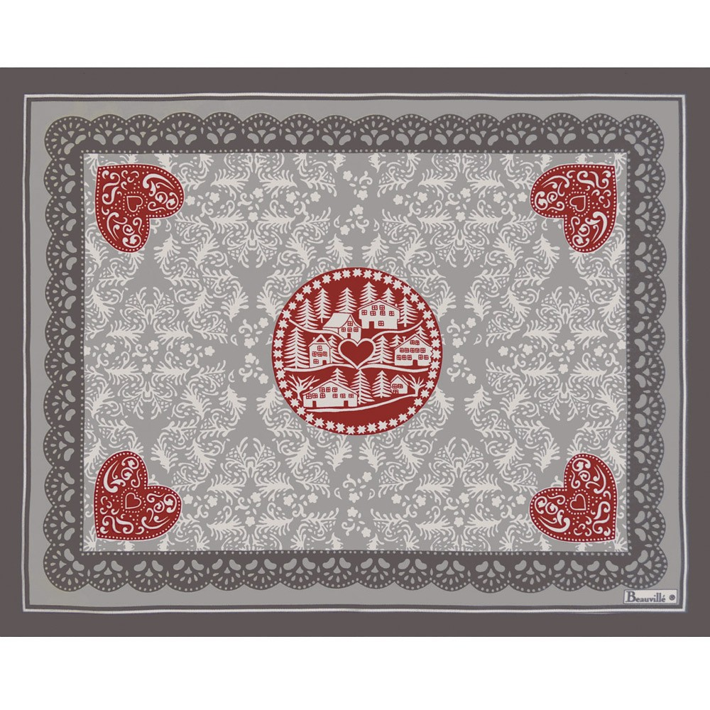 Set de table rouge en coton set de table l hiver beauvill - Set de table intisse ...
