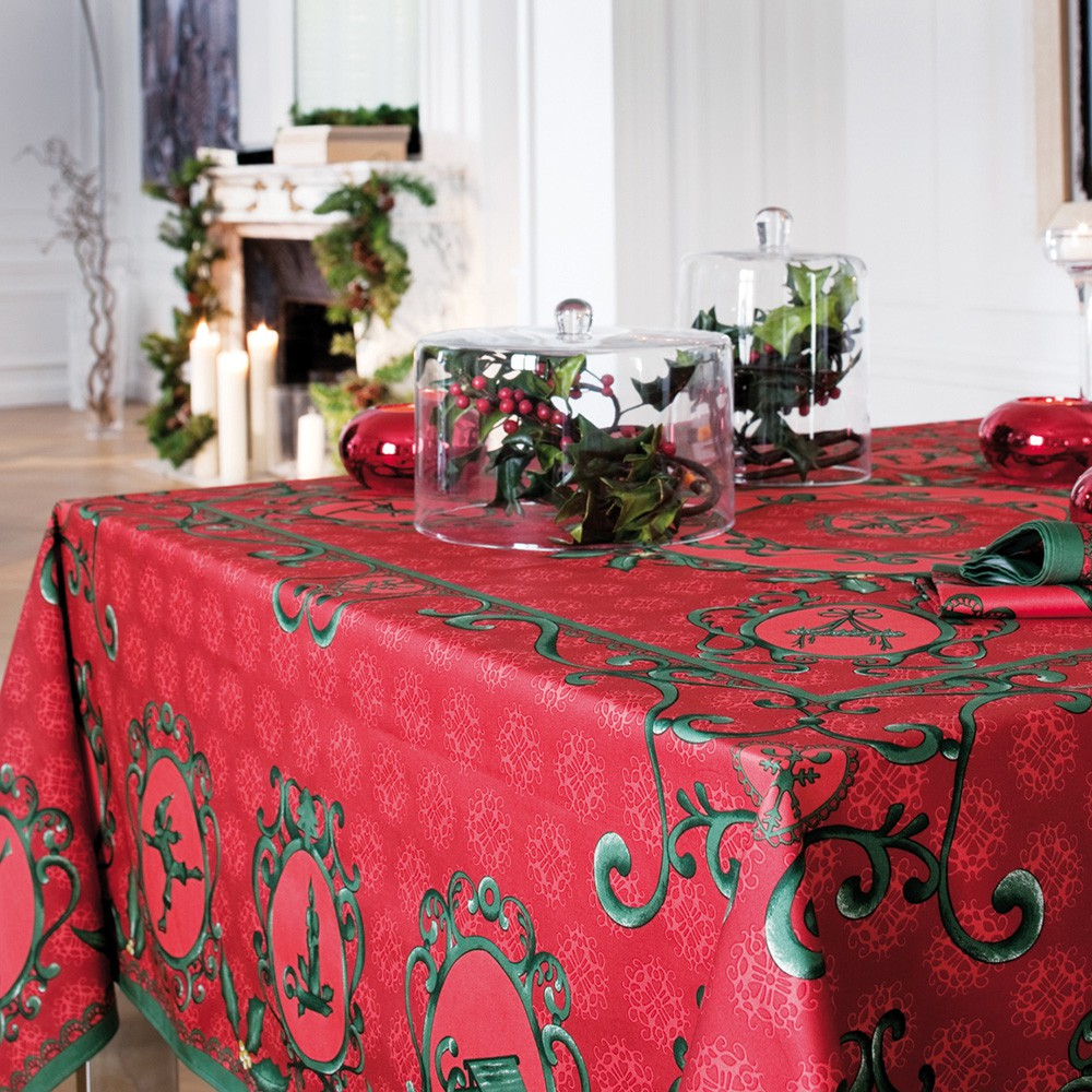 nappe de table coton de no l rouge vert nappe winter. Black Bedroom Furniture Sets. Home Design Ideas