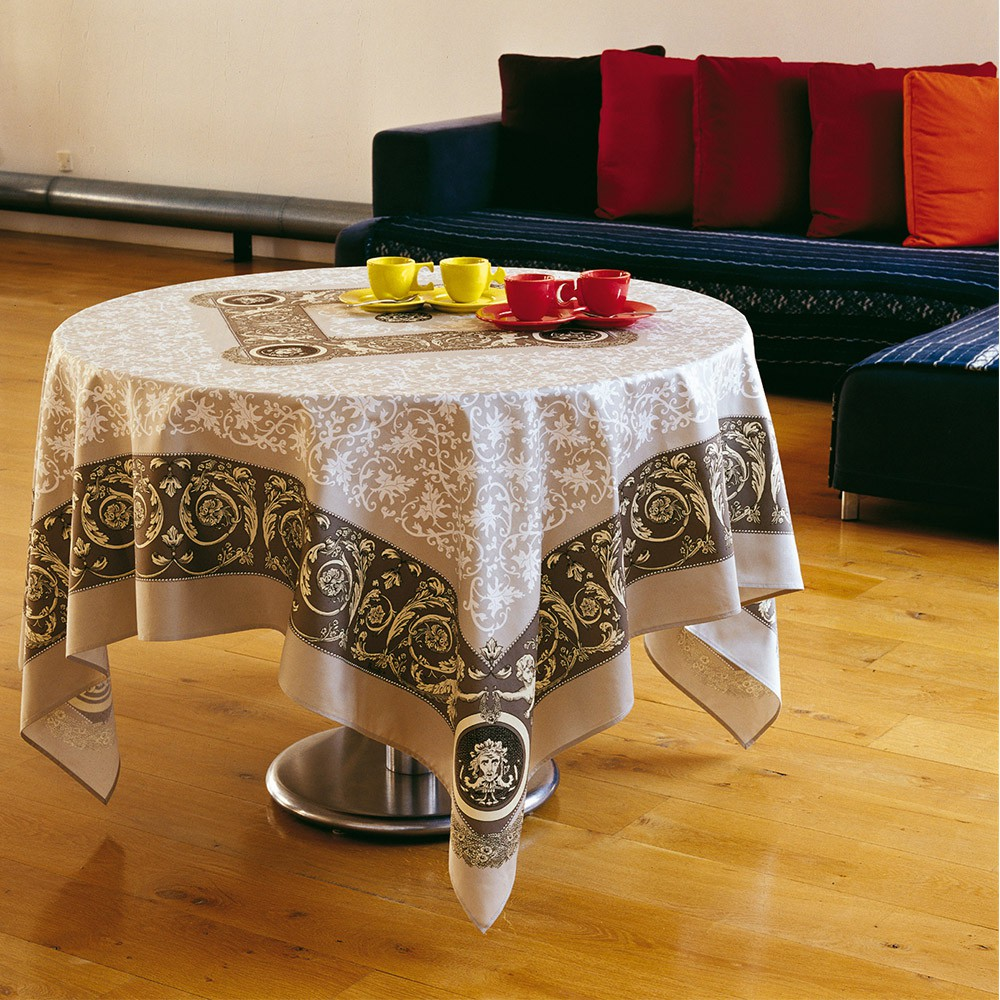 nappe de table coton gris nappe raffaello carr e 170x170 cm beauvill. Black Bedroom Furniture Sets. Home Design Ideas