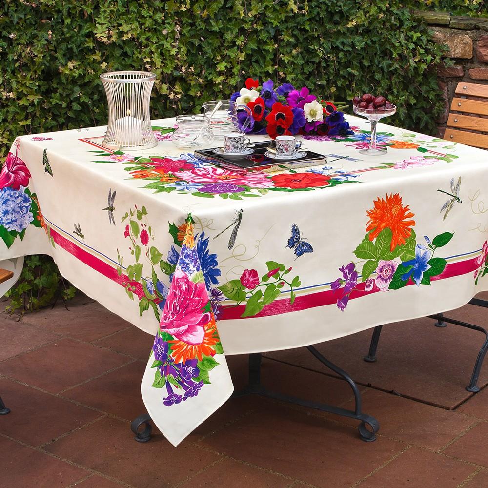 nappe de table coton fleurs blanc nappe palais royal carr e 170x170 cm beauvill. Black Bedroom Furniture Sets. Home Design Ideas