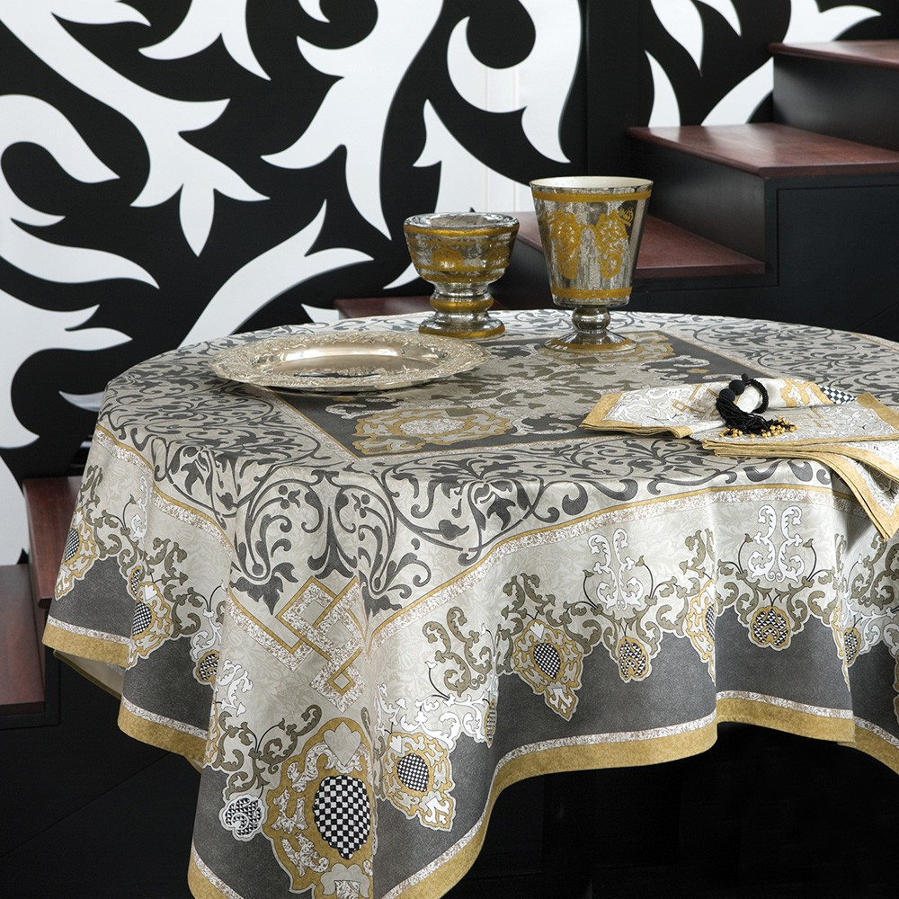 nappe de table coton gris bordeaux nappe adagio carr e 170x170 cm beauvill. Black Bedroom Furniture Sets. Home Design Ideas