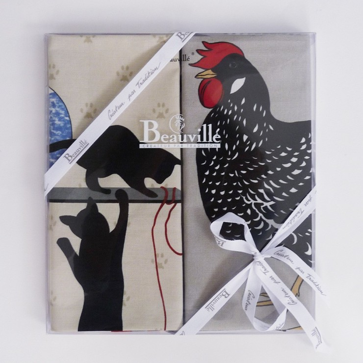 Tea-towel gift box Poule et Chat