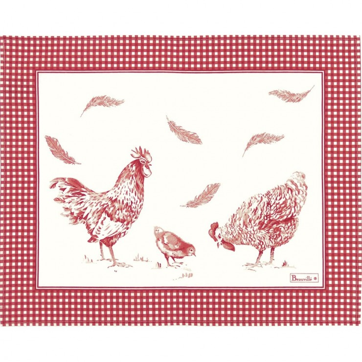 Les Poules coated Placemat