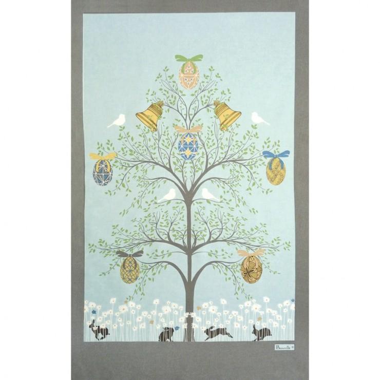 Torchon L'arbre de Pâques Bleu Ciel