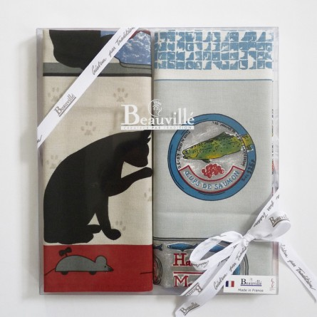 Tea-towel gift box Poissons et chats