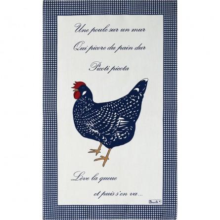 Torchon Picoti Poule bleu