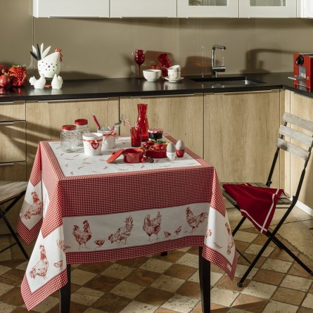 Les Poules coated Tablecloth
