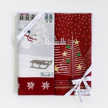 Coffret cadeau torchons Féerie de Noël