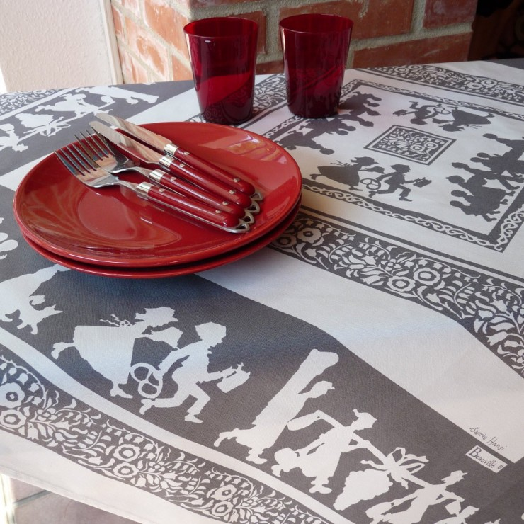 Silhouettes Hansi Grey Tablecloth