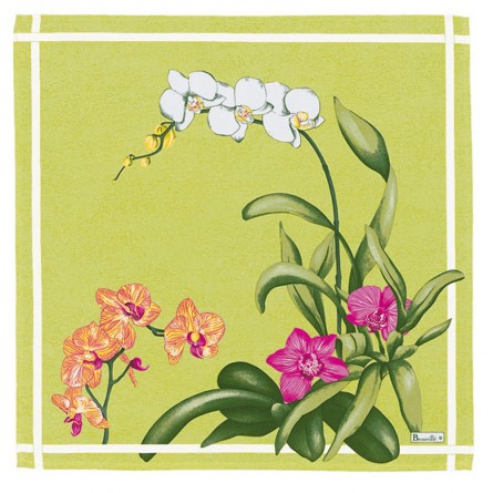 Orchidées Serviette Grün