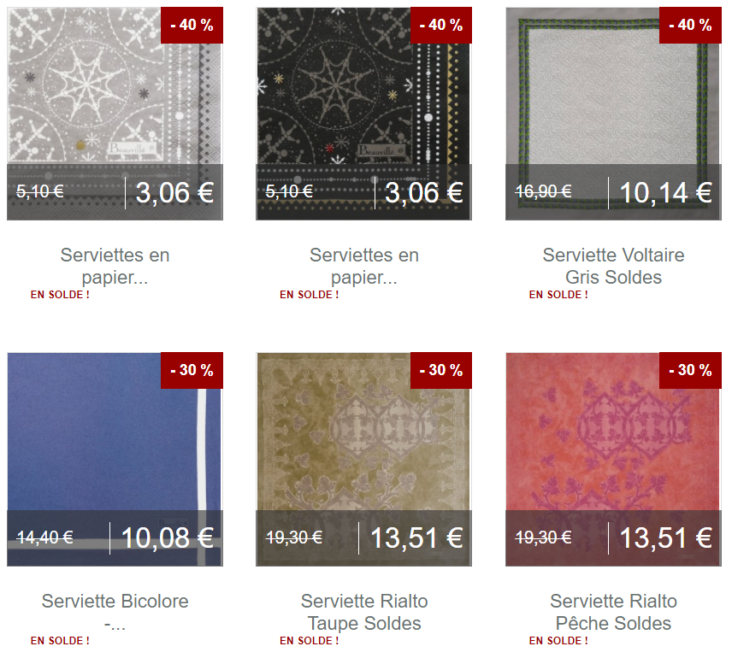 Serviettes de table Soldes