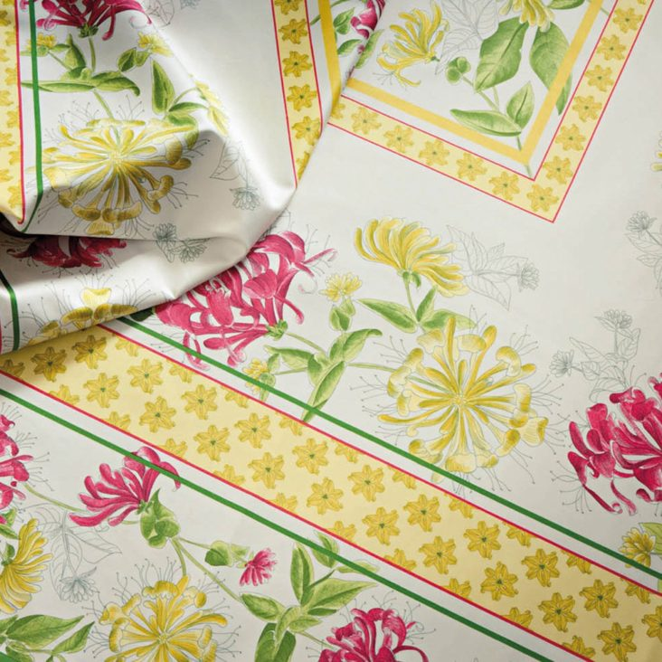 nappe fleurs rose jaune