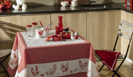 nappe luxe poules rouge