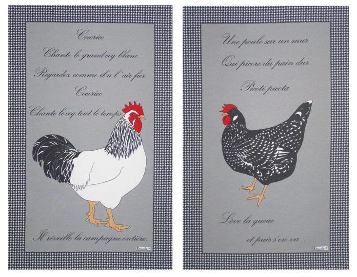 torchons cuisine poule coq